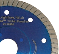Turbo porcelain tile cutting blade showing stiffening flange ring.