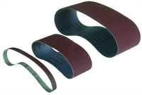 Abrasive sanding belts for powerfiles and belts sanders.